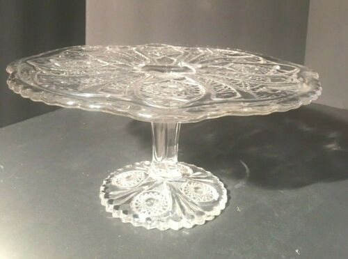 Imperial Glass Cake Stand Daisy Button Vintage