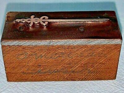 Antique Copper Letterpress Wood Print Block Double Snake Head Sword Logo