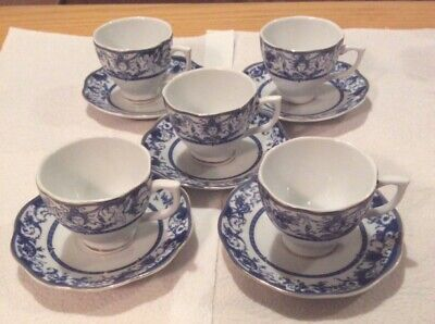 Belle Epoque Fine Porcellana x5 Espresso cups and saucers plus one spare cup