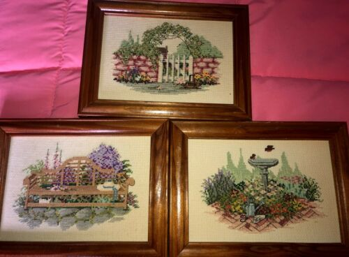 Three Framed Finished Cross Hand Stitched Garden Scenes Shabby Chic Cottage Core