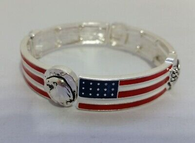 Silvertone metal USA flag Patriotic Stretch Bracelet  Wing Heart Eagle Z05-16/22 ()