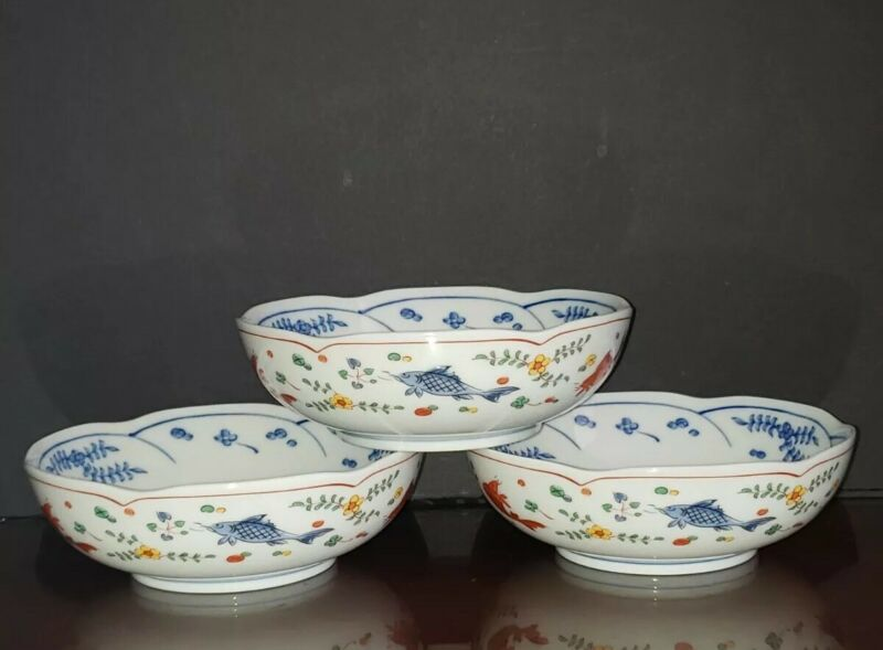 Vintage 3pc. Japan Porcelain Blue White & Multi-color Koi Fish Scalloped Bowls