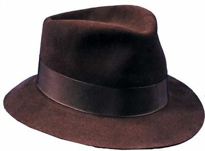 Morris Costumes Fedora Deluxe Felt With Traditonal Headband Brown Medium. GA66MD