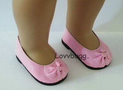 "Lovvbugg Pink Patent Ballet Flats Bow for 18"" American Girl or Bitty Baby Doll Shoes"