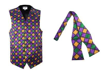Mardi Gras Tuxedo Vest Self Tie Bow Purple Gold Green S M L XL 2XL 3XL 4XL 5XL - Mardi Gras Tuxedo Vest
