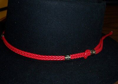 Adjustable Red Hat Band Western Cowboy Braided Millinery Supplies -