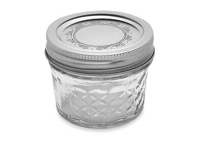 Mason Jelly Jars (Ball Crystal Quilted Mason Jars 4 Oz Set Of 12, Glass Canning Jars ,jelly)