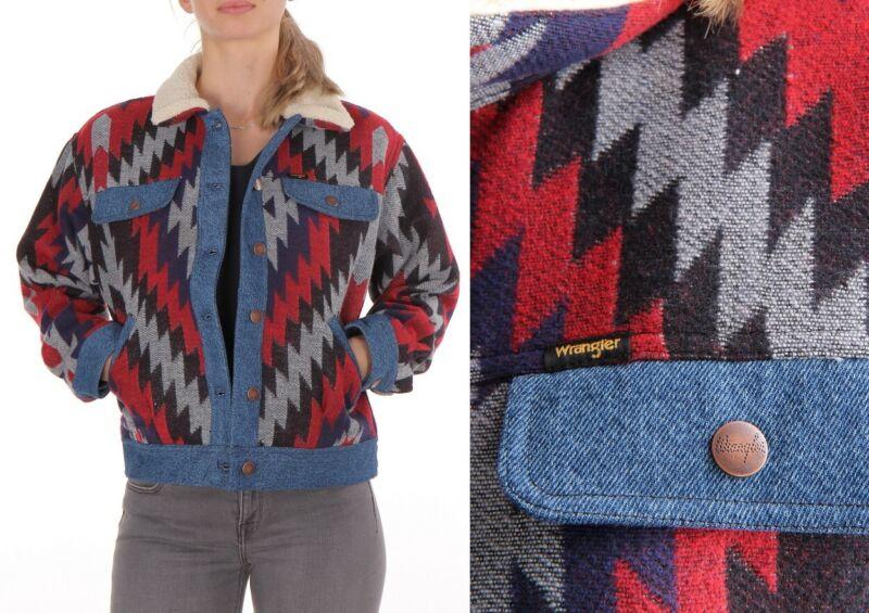 Wrangler Damen Jacke Navajo Jacket Aztekische Muster (Blue Depths) S
