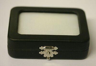 Glass Top Gem Jars Box Black Faux Leather 2 12 X 3 38 X 1 Jewelry Gemstone