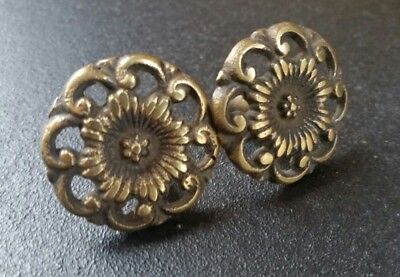 2 Antique Style  Solid Brass  ROUND KNOBS Ornate FLORAL 1 1/4