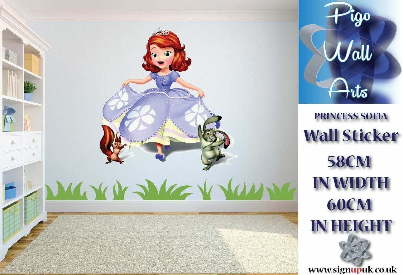 Disney princess sofia wall sticker children 39 s bedroom wall decal mural large ebay for Disney wall stickers for kids bedrooms