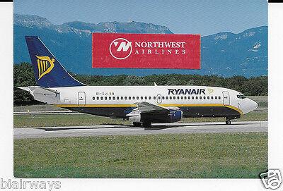 RYANAIR BOEING 737-204 #EI-CJI AT GENEVA 1994 POSTCARD