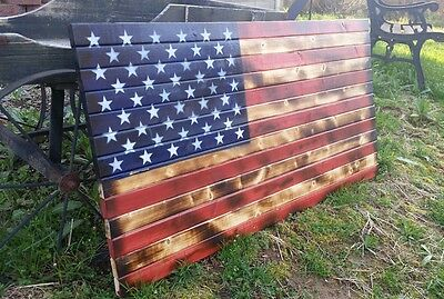 US American Wooden Torched Wood Rustic Primitive Flag Aged