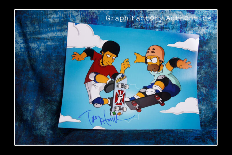 **GFA The Simpsons *TONY HAWK* Signed 11x14 Photo T3 PROOF COA**
