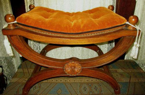 Vintage Neo Classical Wood Wicker Vanity Stool Bench Original Tassel Pillow