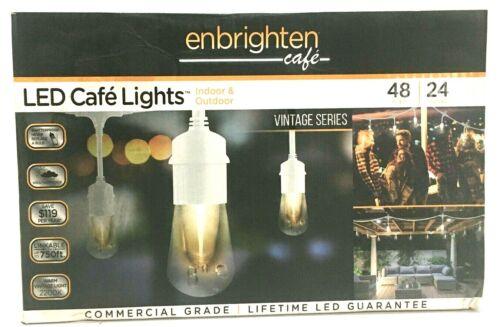 Enbrighten LED Cafe Lights Vintage Series 48ft 24 Bulbs Indoor-Outdoor 35648