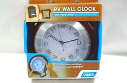 Camco Wall Mounted Round Quartz Movement Clock with Solid Wood Frame for RVs
