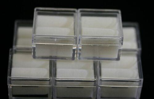 "12pcs Acrylic Square Gem Jars Box Gemstones White Foam 1"" x 1"" Storage Display"