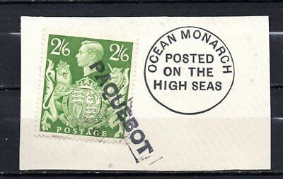 Great Britain KG VI used at sea on piece, stamps as per scan(10305)