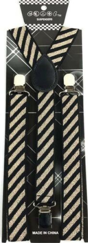 New Gold Sparkle Glitter Suspenders Stripe Style Adjustable Adult Child Elastic