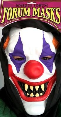 BLACK HOODED CLOWN MASK Scary Face Full Rubber Monster Red Nose Evil Jester Hood](Scary Jester Face)