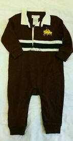 NEW Ralph Lauren burgundy baby sleepsuit 6m
