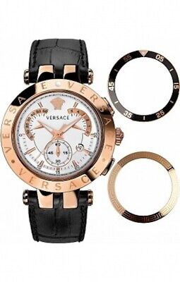 "Versace 23C80D002 S009 ""V-Race"" Rose Gold-Plated 3 Interchangeable Top Rings"
