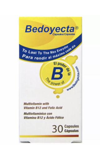Bedoyecta Max Energy With 30 Capsules Vitamin B12 Folic Acid Exp 3/22
