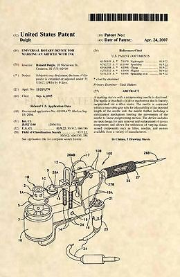 Official Tattoo Machine US Patent Art Print - Tattooist Gun Vintage Antique 505 ()