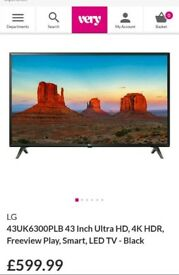 "Brand New Unopened LG 43"" UHD 4k Smart LED TV"