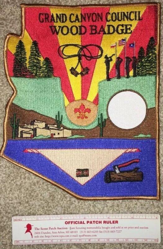 "Boy Scout Grand Canyon Council Arizona Wood Badge Jacket Patch 8""x6"" Mint"