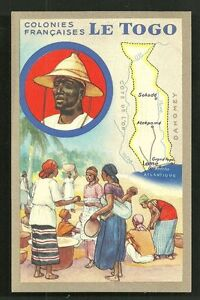 Map card Togo Natives Market Africa 30s