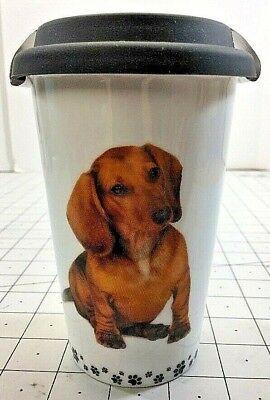 Little Gifts Ceramic Coffee Travel Mug Cup I Love My Dachshund DOG New