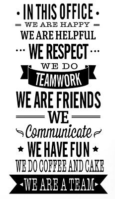 OFFICE RULES TEAMWORK VINYL WALL DECAL QUOTE DECOR STICKERS LETTERING ART WORK  ](Office Decorate)