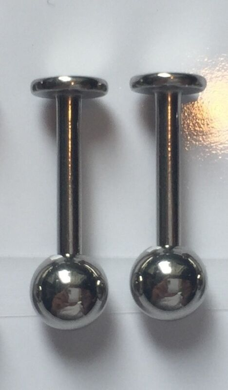 2 Pc 10mm Stainless Steel Ball Top Monroe Labret Chin Cheek Ear Stud Piercings