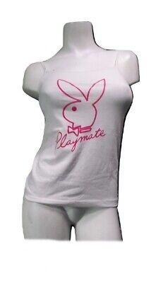Bunny Pajamas For Women (PLAYBOY Pajama Top Cotton PJ Cami Spaghetti String Shirt White Bunny Logo)