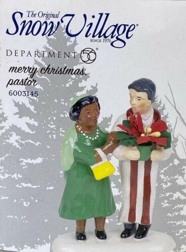Dept. 56 Original Snow Village Accessory Merry Christmas Pastor New