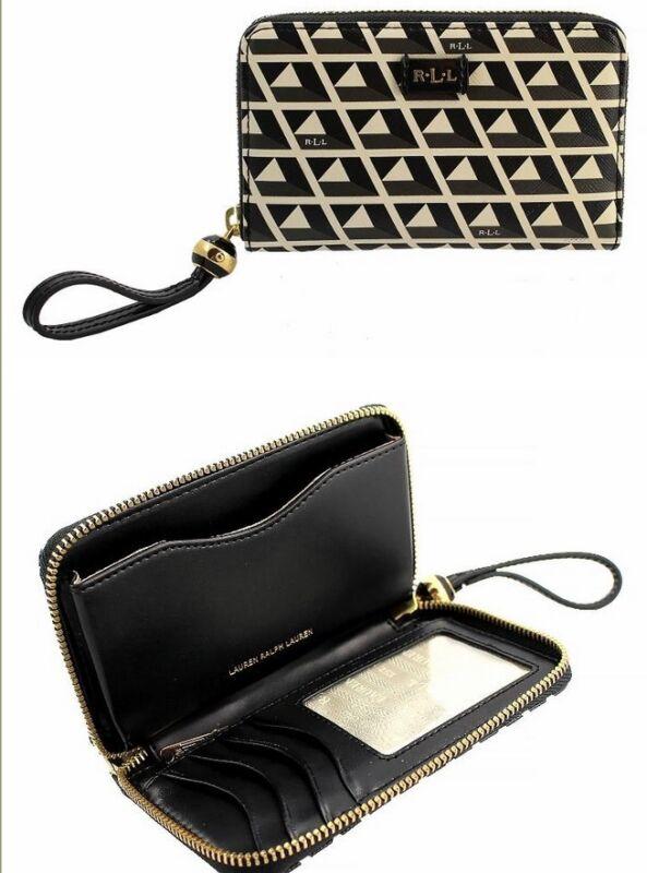 New W/t Ralph Lauren Leather Romilly Tile Tech Zip W/blk Multi Wallet $ 98.00