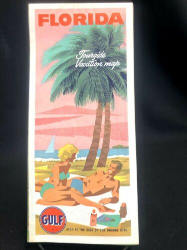 Vintage Gulf Florida/Cuba Highway Gas Station Travel Road Tourguide Map 1965
