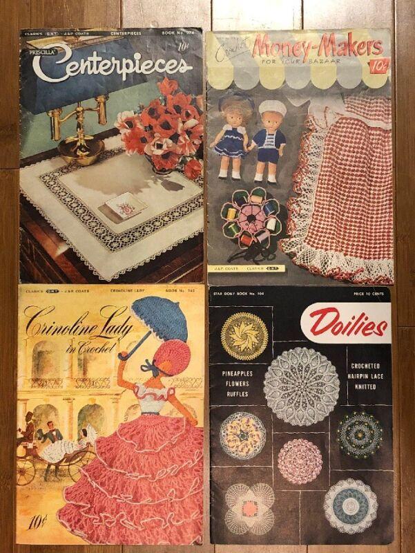Lot 4 Crochet Vintage Books 1950's Crochet Doilies Edging Centerpieces Crinoline