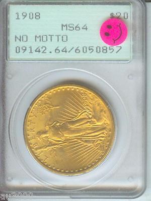1908 NM NO MOTTO $20 ST. GAUDENS DOUBLE EAGLE PCGS MS64 SAINT PQ RATTLER HOLDER
