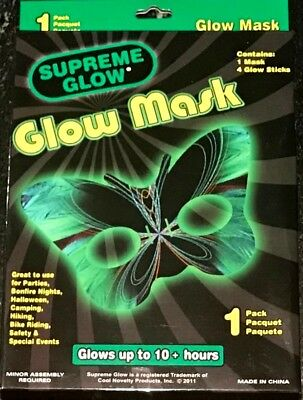 GREEN GLOWING BUTTERFLY HALF MASK + 4 Glow Sticks Light Up Halloween Glasses Eye](Light Up Butterfly)