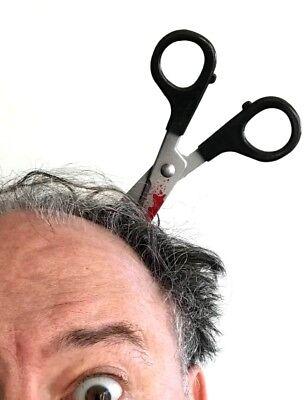 ZOMBIE SCISSOR IN HEAD Headband No Running Trick Prop Joke Prank Gag Thru Bloody (Headband Jokes)
