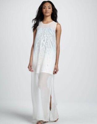 Print Silk Gown (NEW AIKO Silk Print Underlay Dress Sheer Long Gown Chiffon Bergdorf Size XS)