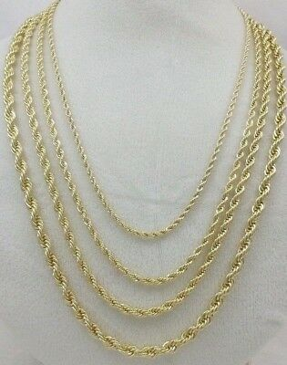 14k Gold Fill Necklace - Real 14k Gold Filled Diamond Cut Twisted French Solid Rope Link Chain Necklace