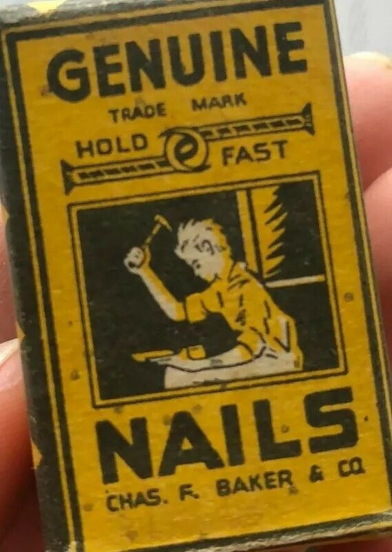 Vintage 1920's, Box of Genuine Hold Fast Nails Cobbler Nails Antique