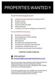 PROPERTIES WANTED!!!
