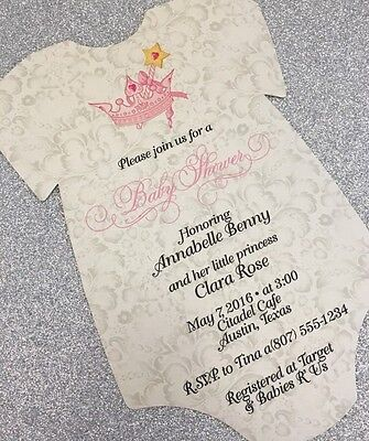 20 Baby Shirt Shower Invitations - Pink Princess Tiara on Pillow