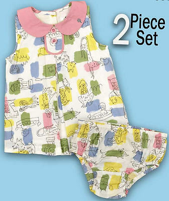 Baby Boden Girls Dress With Pants Set Doggie Print Design In Pastel Colours
