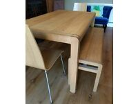 Habitat radius table with bench and 2 oak chairs